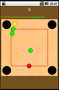 A screenshot of the game showing a few balls that can be pocketed into 4 different holes.